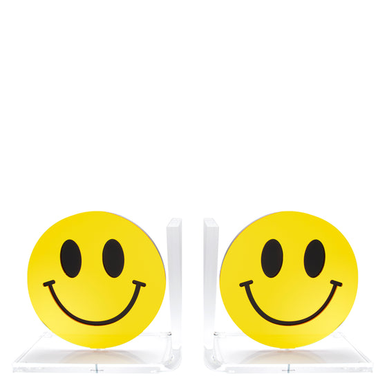 Yellow Mirror Smiley Face bookends