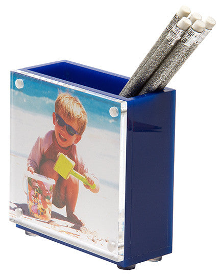 Photo pen holder - royal blue (double-sided)