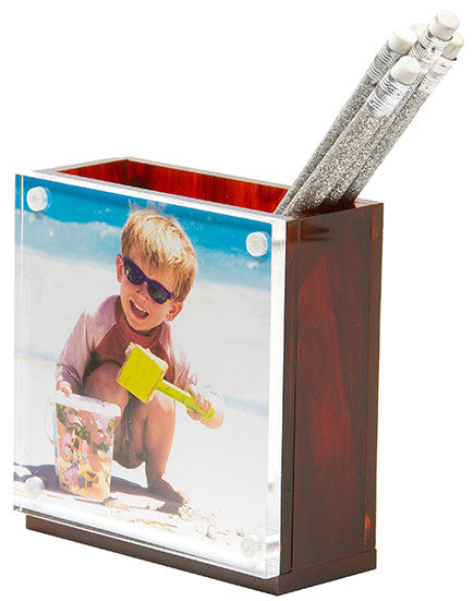 Photo pen holder - tortoise (double-sided)