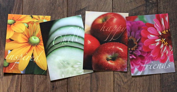 4 Full Size Nature's Bounty Greeting Cards