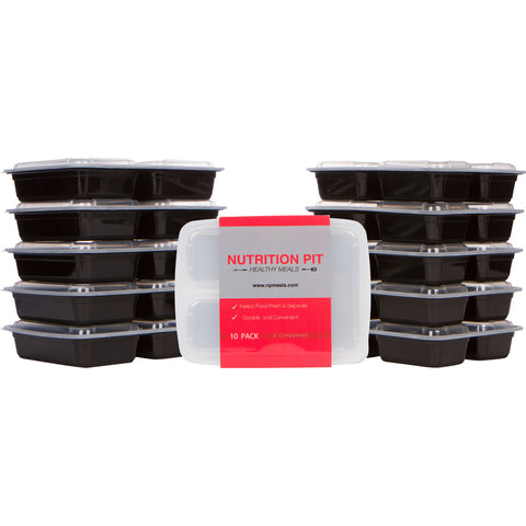 Meal Prep Containers - 3 Compartment Lunch Boxes 10 pk