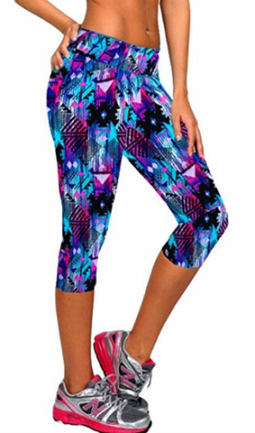 Ancia Womens Tartan Active Capri Leggings