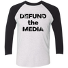 Defund the Media Black Paint Splatter Unisex Tri-Blend 3/4 Sleeve Baseball Raglan T-Shirt