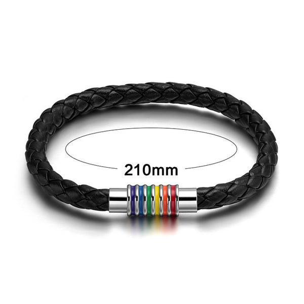 Meaeguet Fashion Braided Gay Pride Black Leather Bracelets & Bangles For Men Women Rainbow Rope Chain Jewelry