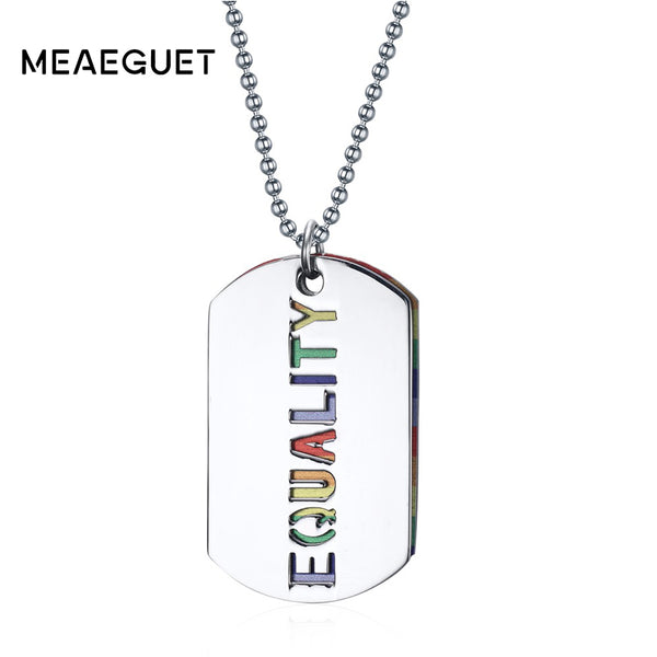 Meaeguet Rainbow Double Layer Gay Pride EQUALITY Necklaces & Pendants Jewelry For Women Men Stainless Steel Pendant
