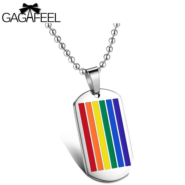 GAGAFFEL Men Women Pendant Necklace Charm Jewelry Stainless Steel Rainbow Unisex Pendants Necklaces Lover Family Gifts