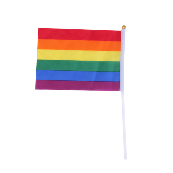 2017 New Arrival 2Pcs Rainbow Flag Colorful Rainbow Peace Flags Polyester for Lesbian Gay Bisexual Transgender 14 x 21cm