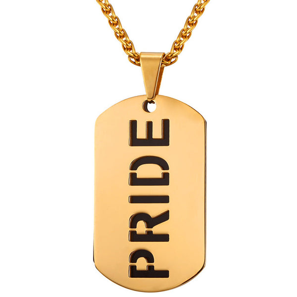 U7 Dog Tag Necklace & Big Pendant Gold Color Stainless Steel Chain For Men LGBT Gay Pride Jewelry 2017 New P1042