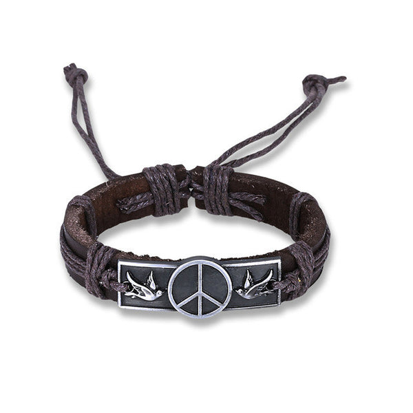 GAGAFEEL Peace Pigeons Bracelet Genuine Leather Brown Bangle For Man Boy Punk Classic Style 17CM Summer Accessory Dropshiping