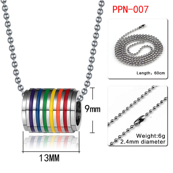 Vnox 10pcs/lots Wholesale LGBT Rainbow Necklaces Pendants Stainless Steel Gay Pride Jewelry free Chain