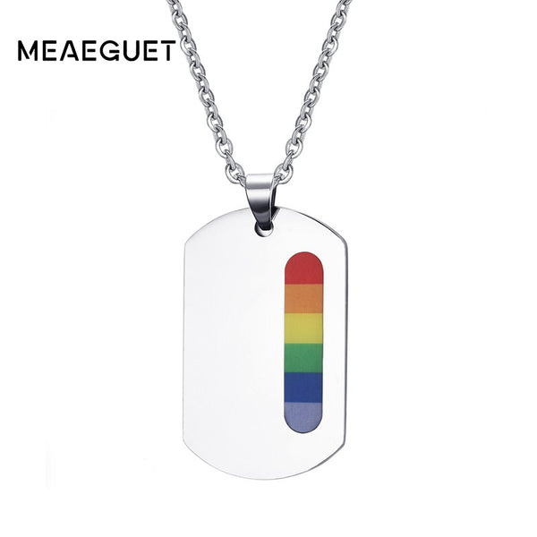 Meaeguet LGBT Gay Pride Rainbow ID Pendants For Women Men Stainless Steel Dog Tag Resin Pendants Necklaces Jewelry