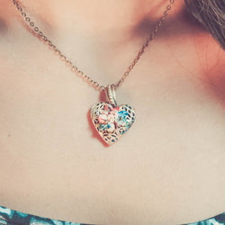 Origami Lotus Heart Locket Necklace - Papercute