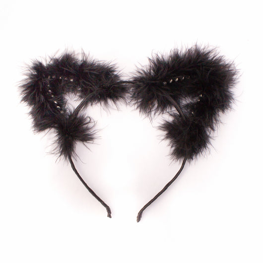 Fluffy Faux Fur Rhinestone Cat Ears - Papercute