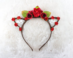 Full Floral Crown with Lace Cat Ears Headband - Papercute