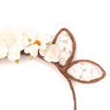 Lace and Floral Bunny Ears Headband - Papercute