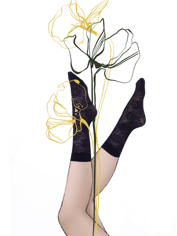 "Ankle Stockings ""lace flower"" caviar"