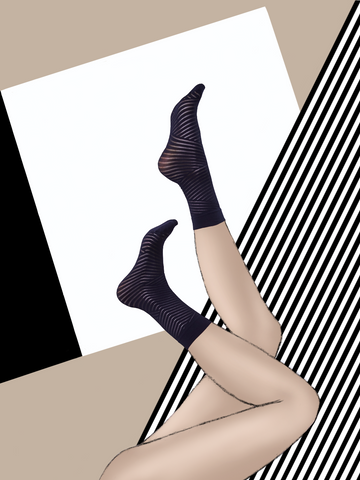 "Ankle Stockings ""smooth geometrix"" caviar"