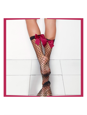"NET BOW Anklet Stockings ""sunsetwine"""