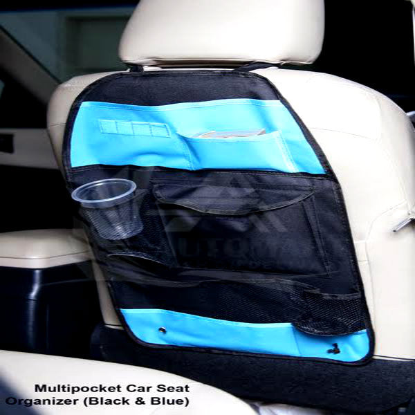 Multi Pocket Car Seat Organizers Black & Blue