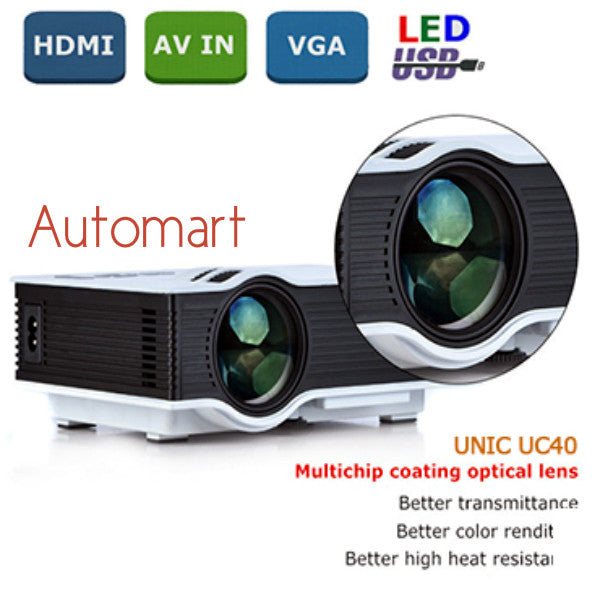 Home Cinema HD 800LM AV HDMI USB & SD Mini LED Projector