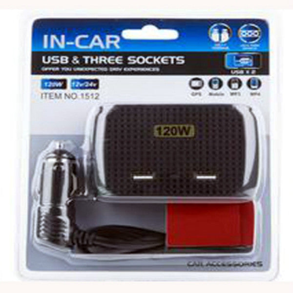 In Car Usb Charger & Three Sockets