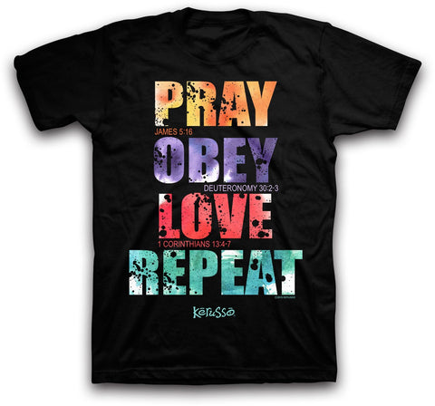 Pray Obey Love Repeat Christian T-Shirt