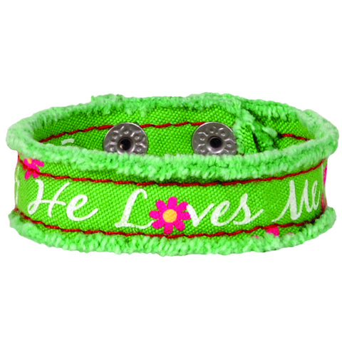 He Loves Me Cherished Canvas Bracelet