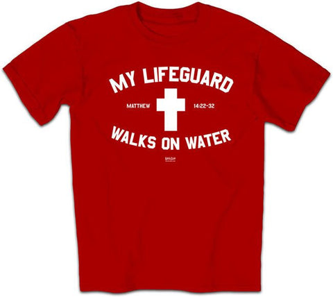My Lifeguard Walks On Water Shirt - Red