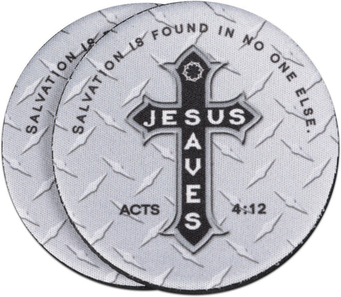 Jesus Saves Treadplate Auto Coaster