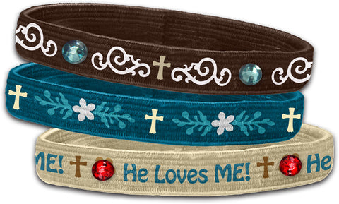 He Loves Me - Christian Stretch Bangles (3 Pk)