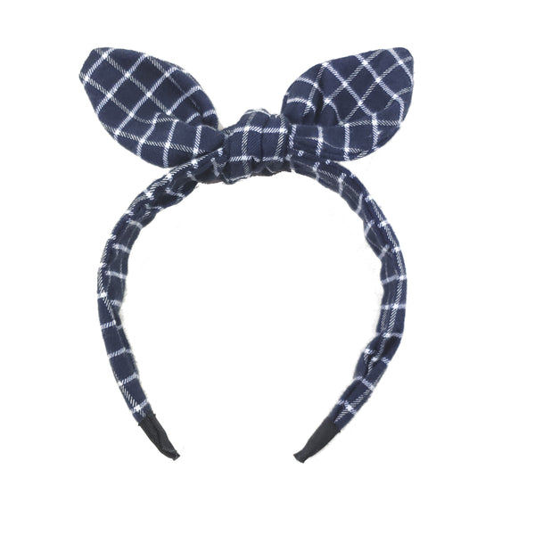 Hair Headband Blue/White Plaid HB2