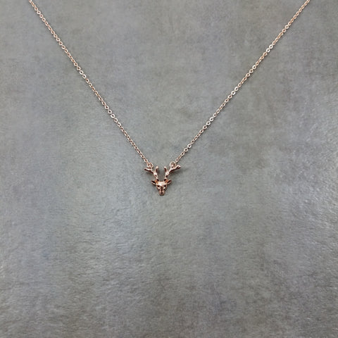 Reindeer Antler Rose Gold Necklace