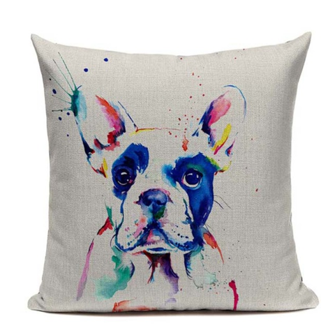 Boston Terrier Painting Pillow B11