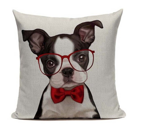 Boston Terrier Glasses Dog Pillow B15