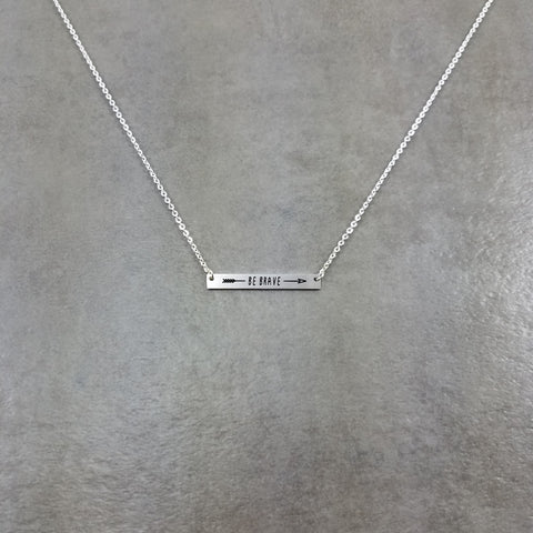 Bar Be Brave Silver Necklace
