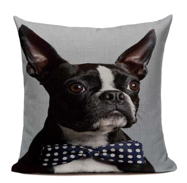 Boston Terrier Dog Bowtie Pillow Cover B20