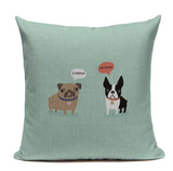 Boston Terrier Farted I Know Dog Cartoon Face Green Pillow B6