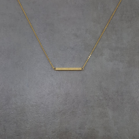 Bar Straight Shiny Gold Necklace