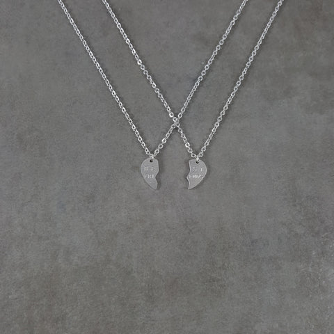Heart Best Friends Silver Necklace