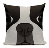 Boston Terrier Dog Big Cartoon Face Pillow B2