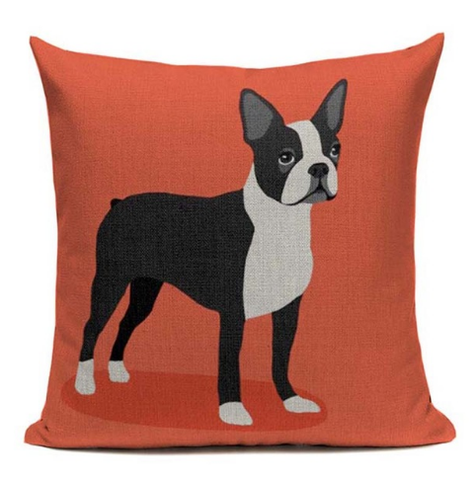 Boston Terrier Dog Cartoon Body Orange Pillow B4