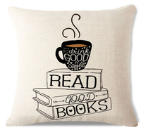 Drink Coffee And Read Books Pillow Cover C1