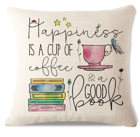 Happiness is a Cup of Coffee Pillow Cover C2