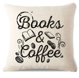 Books and Coffee Pillow Cover C3