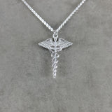 Nurse Symbol Caduceus Silver Necklace