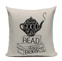 Drink Tea And Read Books Pillow Cover C5