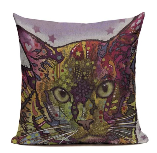 Cat Trippy Purple Pillow CAT6