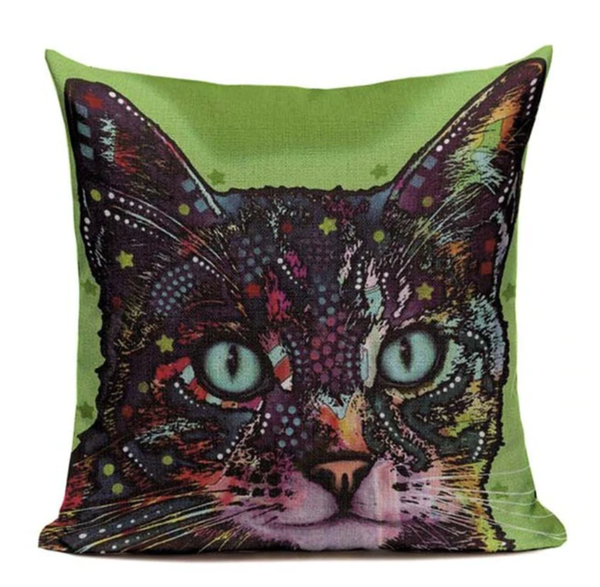 Cat Trippy Green Pillow CAT7