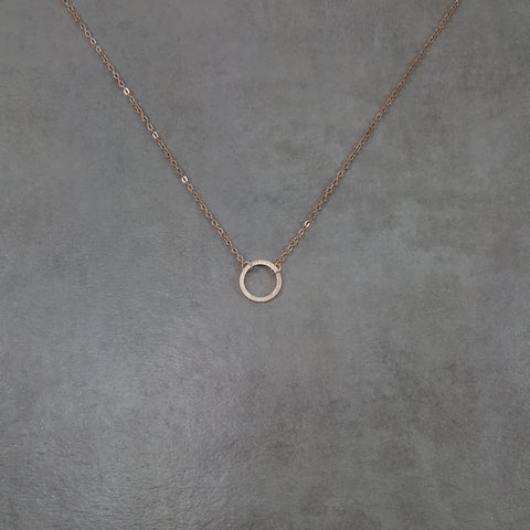 Circle Thin Fine Karma Rose Gold Necklace