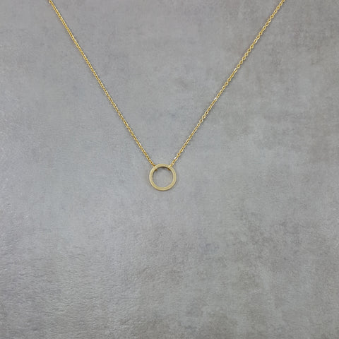 Circle Thin Fine Karma Gold Necklace
